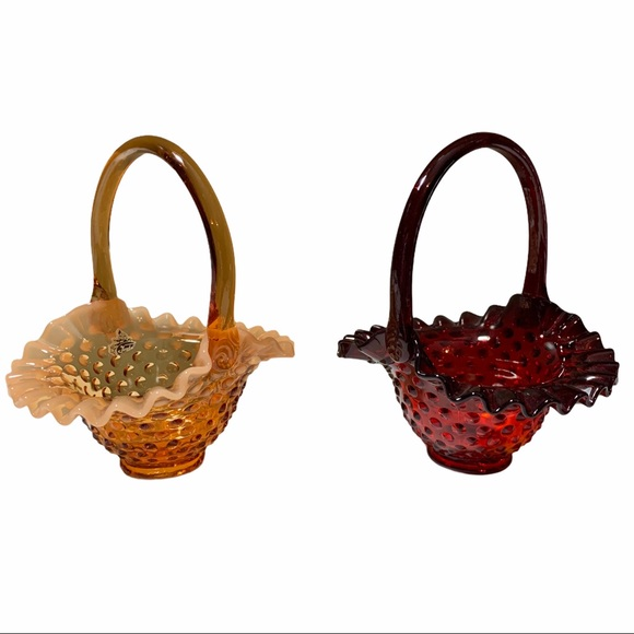 Fenton Hobnail baskets set of two candy dishes